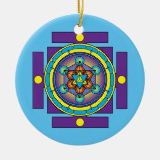 Metatron's Cube Merkaba Mandala Round Ceramic Decoration
