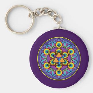 Metatron's Cube Merkaba on Flower of Life Basic Round Button Key Ring