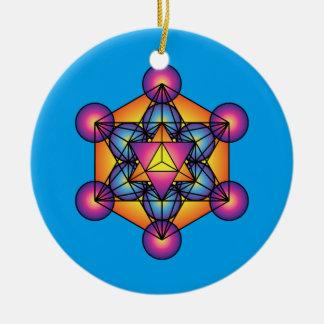 Metatron's Cube Merkaba Round Ceramic Decoration
