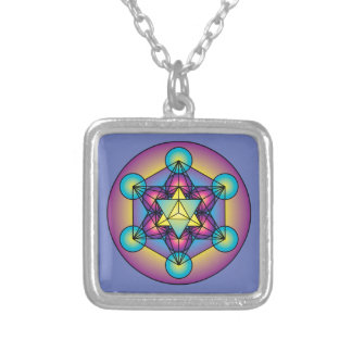 Metatron's Cube Merkaba Silver Plated Necklace