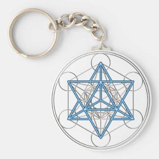Metatrons cube - Merkaba - star tetrahedron Basic Round Button Key Ring