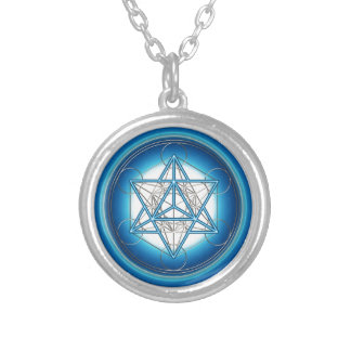 Metatrons cube - Merkaba - star tetrahedron Silver Plated Necklace