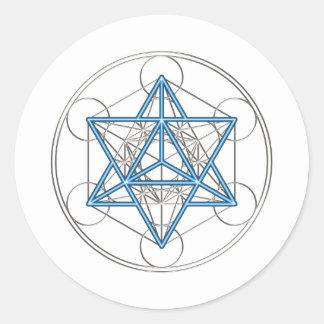 Metatrons cube - Merkaba - star tetrahedron Round Stickers