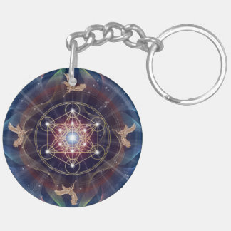 Metatron's Cube - Merkabah - Sacred Geometry Double-Sided Round Acrylic Key Ring