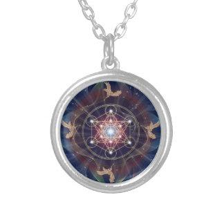 Metatron's Cube - Merkabah - Sacred Geometry Round Pendant Necklace