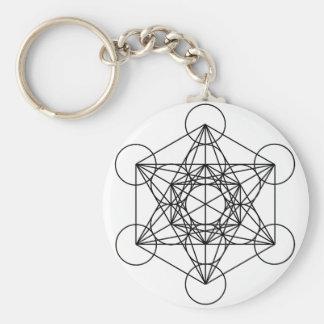 Metatron's Cube (White) Basic Round Button Key Ring