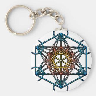 Metatron's Cube(yellow orange blue gradient)Symbol Basic Round Button Key Ring