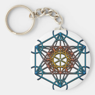 Metatron's Cube(yellow orange blue gradient)Symbol Key Ring