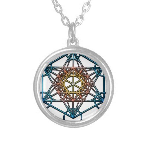 Metatron's Cube(yellow orange blue gradient)Symbol Necklaces