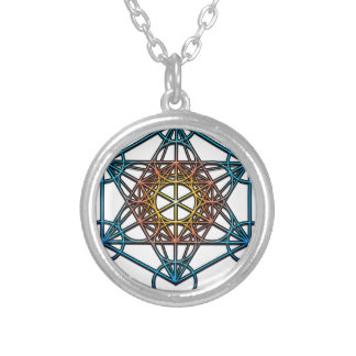 Metatron's Cube(yellow orange blue gradient)Symbol Silver Plated Necklace