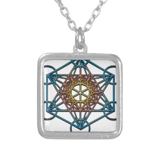 Metatron's Cube(yellow orange blue gradient)Symbol Square Pendant Necklace
