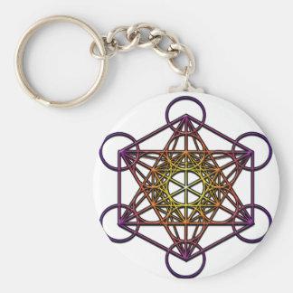 Metatron's Cube (yellow purple gradient) Symbol Basic Round Button Key Ring