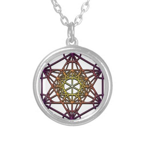 Metatron's Cube (yellow purple gradient) Symbol Custom Necklace