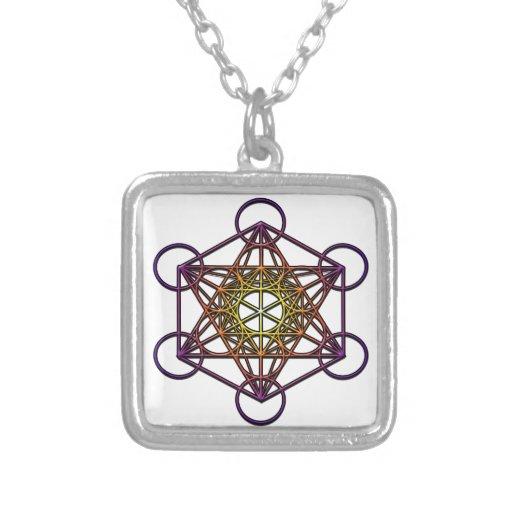 Metatron's Cube (yellow purple gradient) Symbol Personalized Necklace