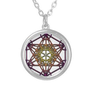 Metatron's Cube (yellow purple gradient) Symbol Round Pendant Necklace