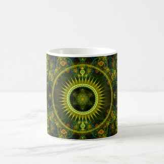 """Metatron's Magick Wheel"" - Fractal Art Basic White Mug"