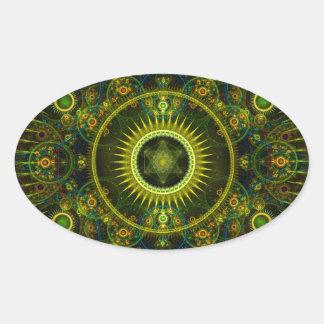 """Metatron's Magick Wheel"" - Fractal Art Oval Sticker"