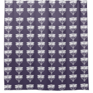 Meteorite Purple Arts and Crafts Dragonflies Shower Curtain