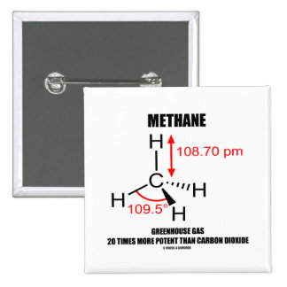 Methane Greenhouse Gas 20 Times More Potent 15 Cm Square Badge