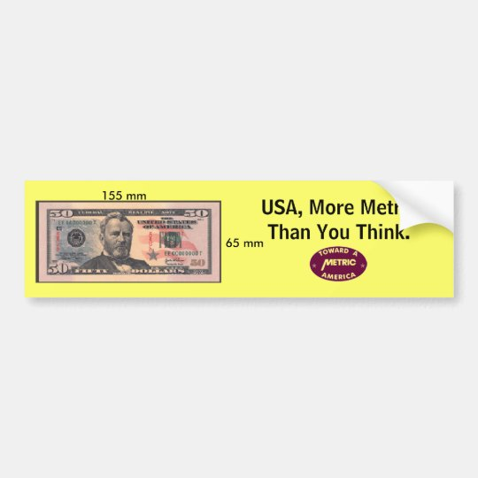 Metric Money Bumper Sticker