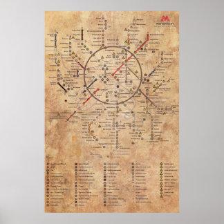 Metro 2033 Aged Map Poster