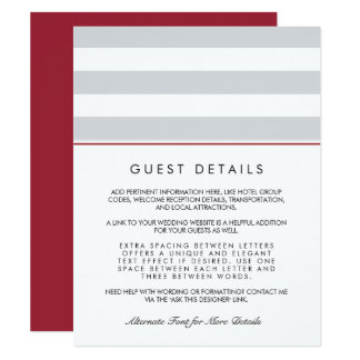 Metro Stripe Guest Information Card | Cranberry