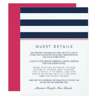 Metro Stripe Guest Information Card | Pink & Navy