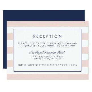 Metro Stripe Reception Card | Blush and Navy