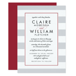 Metro Stripe Wedding Invitation | Cranberry