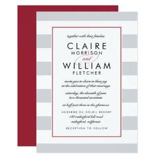 Metro Stripe Wedding Invitation | Cranberry