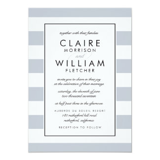 Metro Stripe Wedding Invitation | Gray