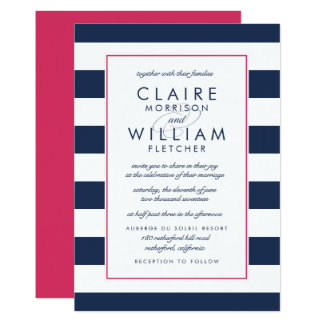 Metro Stripe Wedding Invitation | Pink and Navy