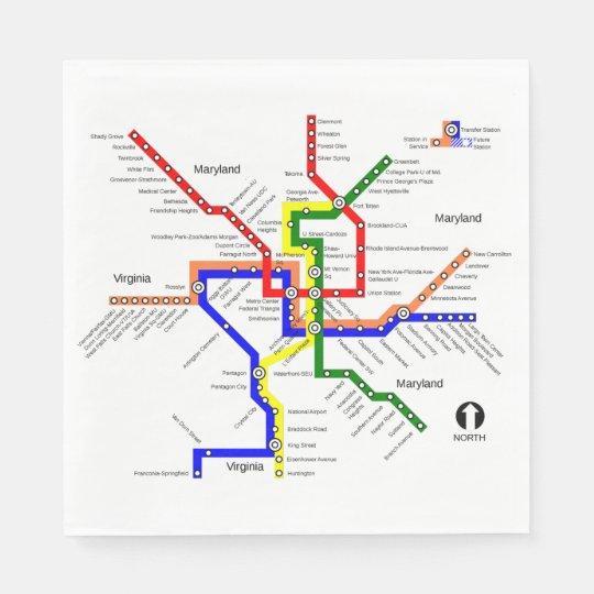 Waington Dc Subway Map.Metro Washington Dc Subway Map Napkin