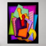metropolis art deco abstract painting print