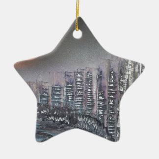 Metropolis at night ceramic star decoration