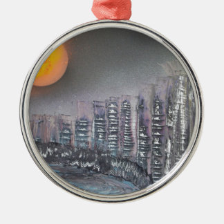 Metropolis at night christmas ornament