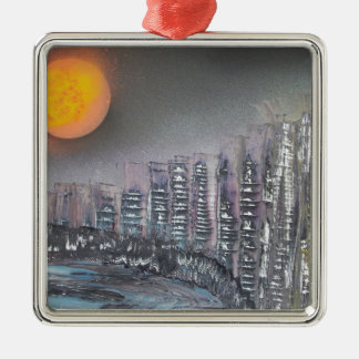 Metropolis at night Silver-Colored square decoration