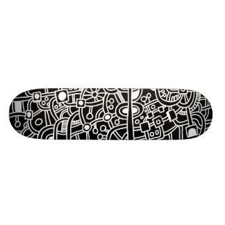 Metropolis III - White on Black Custom Skateboard