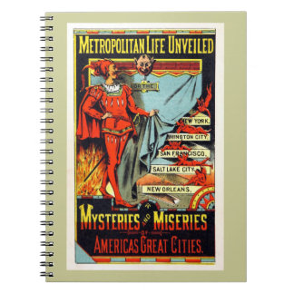 Metropolitan Life Unveiled Vintage Illustration Spiral Note Books