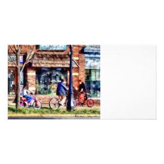 Metuchen NJ - Bicyclists on Main Street Customized Photo Card