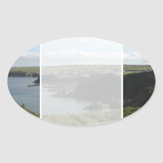 Mevagissey. Cornwall. Scenic coastal view. Oval Sticker