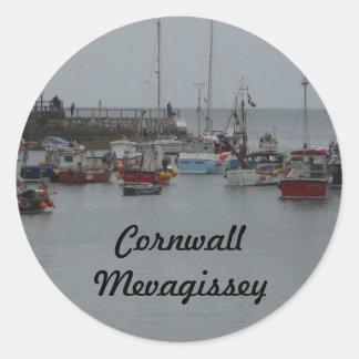 Mevagissey Harbour Classic Round Sticker