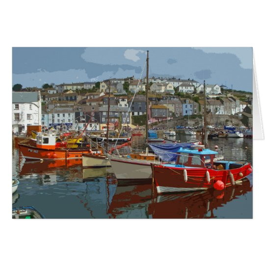 Mevagissey retro poster-style card