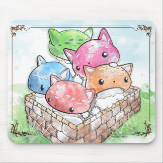 Mewshroom Mousepad Cute Cat Mushrooms in a Basket