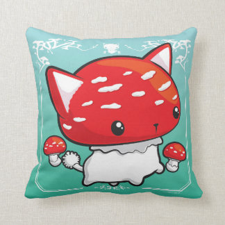 Mewshroom Pillow teal cute cat mushroom