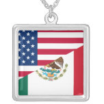 Mexican American Flag Necklace