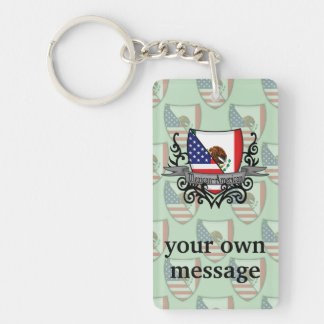Mexican-American Shield Flag Double-Sided Rectangular Acrylic Key Ring