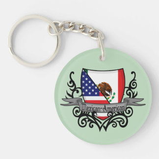 Mexican-American Shield Flag Double-Sided Round Acrylic Key Ring