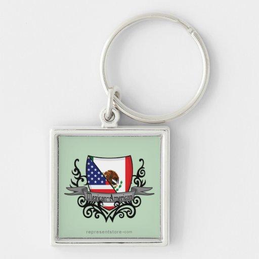 Mexican-American Shield Flag Keychains