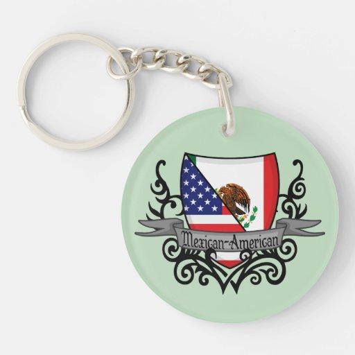 Mexican-American Shield Flag Key Chain